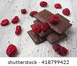 still life of broken chocolate... | Shutterstock . vector #418799422