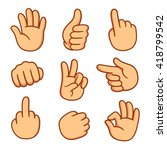cartoon hands set. different... | Shutterstock .eps vector #418799542