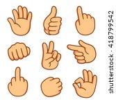 cartoon hands set. different... | Shutterstock .eps vector #418799542