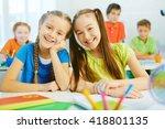 two schoolgirls | Shutterstock . vector #418801135