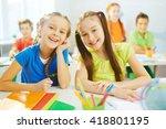 pretty classmates | Shutterstock . vector #418801195
