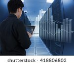 man working in data center and... | Shutterstock . vector #418806802