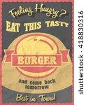 hot  tasty  delicious burger.... | Shutterstock . vector #418830316
