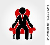 businessman sits in red armchair | Shutterstock .eps vector #418834246