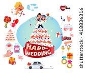 Wedding Cake With Wedding Icon...