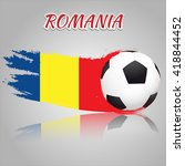romania symbol with the soccer... | Shutterstock .eps vector #418844452