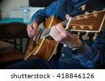 western cowboy playing guitar | Shutterstock . vector #418846126