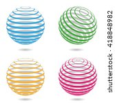 abstract sphere. 3d lines balls.... | Shutterstock .eps vector #418848982