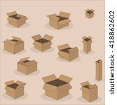 set of cardboard boxes... | Shutterstock .eps vector #418862602