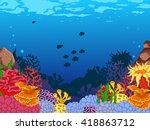 beauty corals with underwater...   Shutterstock .eps vector #418863712