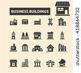 business buildings icons  | Shutterstock .eps vector #418864732