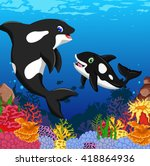 killer whales cartoon with... | Shutterstock .eps vector #418864936