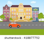 city landscape in flat design... | Shutterstock .eps vector #418877752
