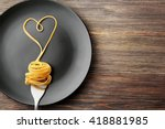 heart made with pasta on the... | Shutterstock . vector #418881985