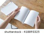 hands open blank catalog ... | Shutterstock . vector #418893325