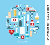 flat medicine poster with... | Shutterstock .eps vector #418914895