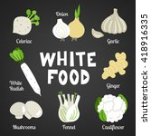 white food collection on dark... | Shutterstock .eps vector #418916335