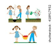a set of drawings. the children ... | Shutterstock .eps vector #418917952