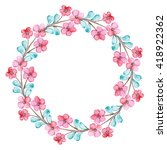 wreath with watercolor pink... | Shutterstock . vector #418922362