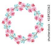 wreath with watercolor pink... | Shutterstock . vector #418922362