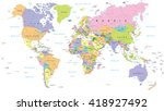 colored world map   borders ... | Shutterstock .eps vector #418927492