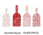 four red wine bottles. vector. | Shutterstock .eps vector #418929925