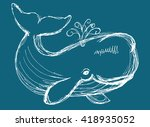 The Whale Drawing. Hand Drawn...