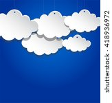 paper clouds on blue background ... | Shutterstock .eps vector #418936972