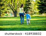 happy mother and adorable... | Shutterstock . vector #418938832