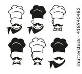 chef hat and big mustache set... | Shutterstock .eps vector #418940482