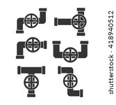 pipe with valve icon.water pipe ... | Shutterstock .eps vector #418940512