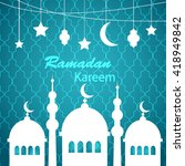 blue ramadan kareem greetings... | Shutterstock .eps vector #418949842