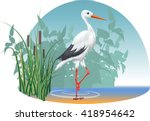 Vector Image Of A Stork  Who...