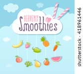 heavenly smoothie logo. with... | Shutterstock .eps vector #418961446