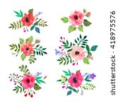 Stock vector vector flowers set colorful floral collection with leaves and flowers drawing watercolor design 418975576