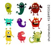 cartoon monsters set. colorful... | Shutterstock . vector #418995352