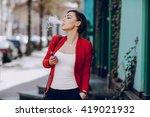 spectacular young brunette... | Shutterstock . vector #419021932