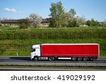 truck driving on asphalt... | Shutterstock . vector #419029192