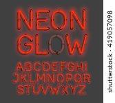 neon glow alphabet vector... | Shutterstock .eps vector #419057098
