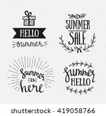 hand drawn summer lettering.... | Shutterstock .eps vector #419058766