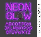 neon glow alphabet vector... | Shutterstock .eps vector #419059612