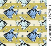 seamless pattern with fish on a ... | Shutterstock .eps vector #419074546