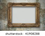frame on the old wall - stock photo
