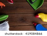 house cleaning product on wood... | Shutterstock . vector #419084866
