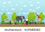 Zoo Concept Banner. People...