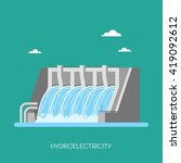 hydro power plant and factory.... | Shutterstock .eps vector #419092612
