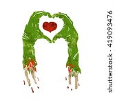 zombie hand making heart | Shutterstock .eps vector #419093476
