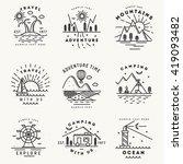 set of 9 flat line art travel... | Shutterstock .eps vector #419093482