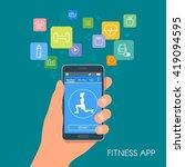 smart phone sport app with... | Shutterstock .eps vector #419094595