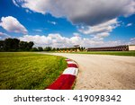 Empty Motor Speedway With Curv...